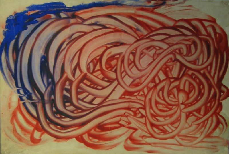 Mescaline Painting - Red and Blue Finger-Painting - LDBTH:81