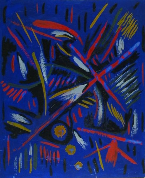Mescaline Painting - Blue and Red Abstract - LDBTH:191
