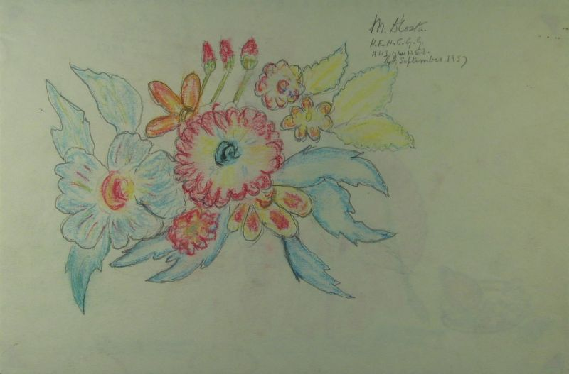 Flowers in Red, Blue and Yellow - LDBTH:392v